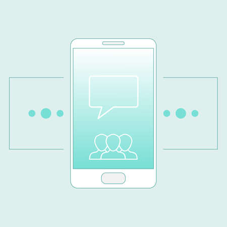 Smartphone concept illustration in outline style. Perfect for web, banner and creative design. Vector