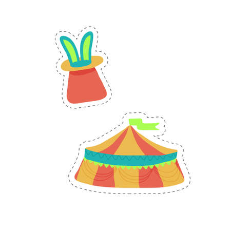 Rabbit in hat and circus tent stickers in doodle style. For diary, school, notebooks. Vector illustration