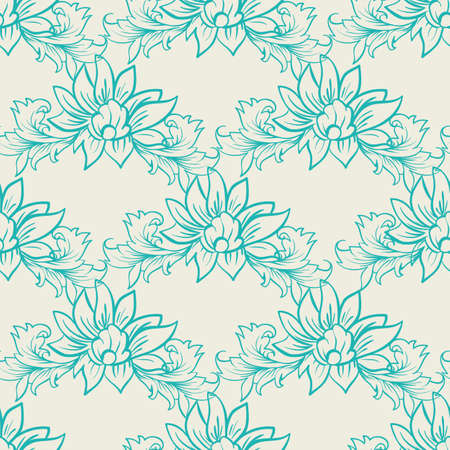 Art damask decorative seamless pattern in simple style. For textile and print. Vector illustration Illustration