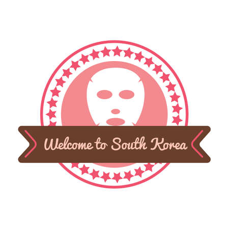 Korean welcome sticker in flat style. For diary, travels and voyage. Vector illustration.