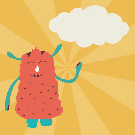 Cute monster poster with cloud for text in cartoon style. For advertising, print and creative design. Vector illustration