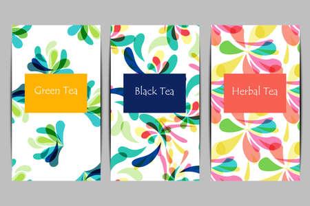Abstract tea package set in flat style. Vector illustration Vektoros illusztráció