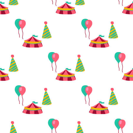 Circus seamless pattern in doodle style. Perfect for paper, textile, fabric and nursery design. Vector illustration Illustration