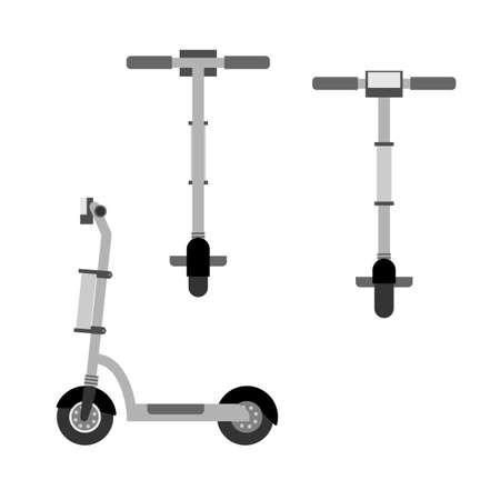 Electric scooter icons set in flat style. Vector illustration