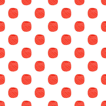 Vector yarn ball seamless pattern in flat style. For print, textile, knitting shop
