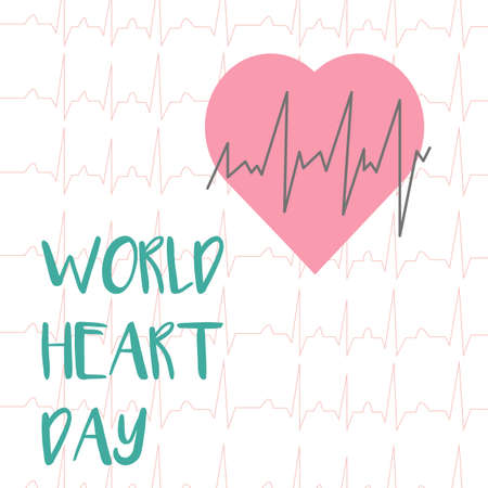 World heart day card in flat style. For medicine, education and school posters Illustration