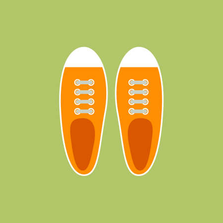 Sneakers for young people in flat style. Top view. Vector illustration