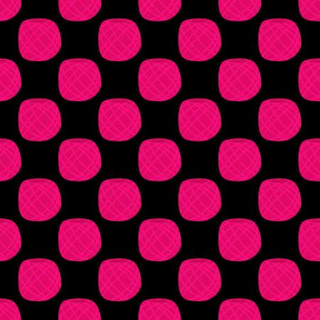 Vector yarn ball seamless pattern in flat style