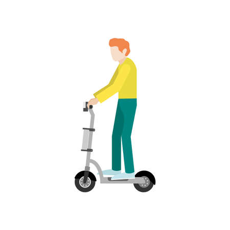 Young man on electric scooter in flat style. Vector illustration