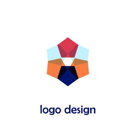 Design del logo creativo in stile piatto. Per negozio, negozio, azienda commerciale, centro benessere. Illustrazione vettoriale