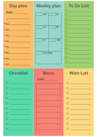 Planner 2019 set in flat style. Schedule templates for school, office and time management. Daily, weekly, To do list, Check list, Menu, Shopping list. Vector illustration