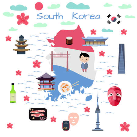 South Korea map in flat style. For children books, poster, travel cards. Vector illustration