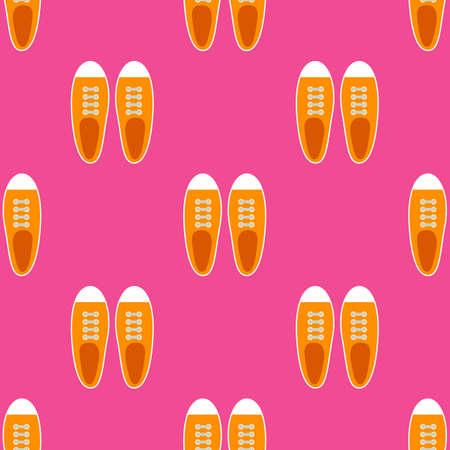 Sneakers seamless pattern in flat style. Vector illustration Illustration