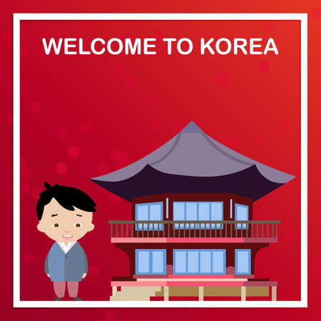 South Korea banner in flat style. Vector illustration