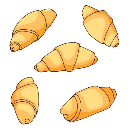 Croissant icons set in hand drawn style. Vector illustration. For cafe, bakery, menu design