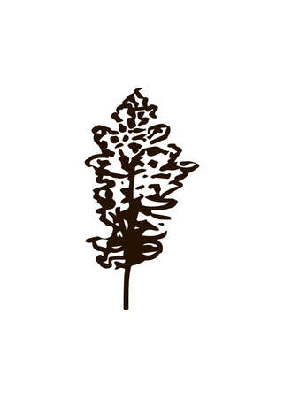 Tree icon in hand drawn scandinavian style. For print and decor. Vector illustration.