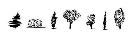 Trees icons in hand drawn scandinavian style. For print and decor. Vector illustration.