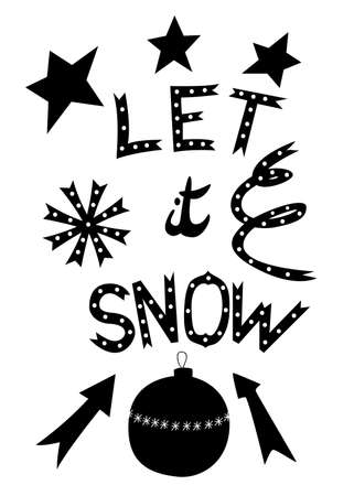 Let it snow - poster with hand drawn lettering in doodle style. Vector illustration
