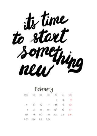 Calendar 2019 with motivational lettering Illustration