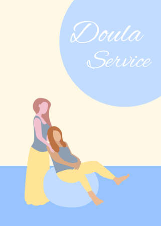 Doula Service banner in a modern cartoon style. Pregnant woman poster template. Vector illustration