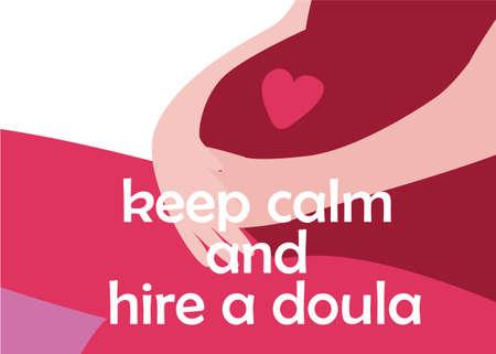 World Doula Week Banner im modernen Cartoon-Stil. Schwangere Frau mit Zitat. Bleiben Sie ruhig und mieten Sie eine Doula. Vektor-Illustration