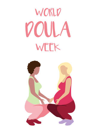 World Doula Week banner in a modern cartoon style. Pregnant woman poster template. Vector illustration