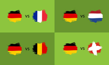 Banner set with Germany and Europe countries flags in flat style. For web, print and creative design.