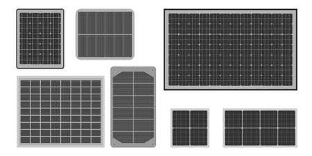 Sun energy panels icons set in flat style. Vector illustration.