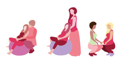 Pregnant woman with doula assistant and husband in a modern cartoon style. Vector illustration Stock Photo