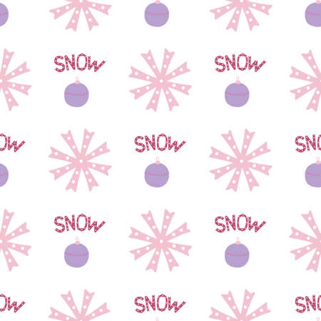 Seamless pattern with snowflake in hand drawn style. Perfect for print, textile and fabric. Vector illustration