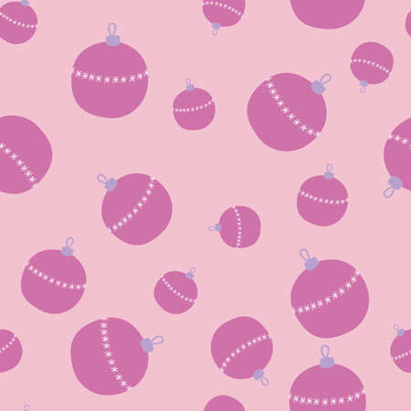 Seamless pattern with christmas tree ball in hand drawn style. Perfect for print, textile and fabric. Vector illustration