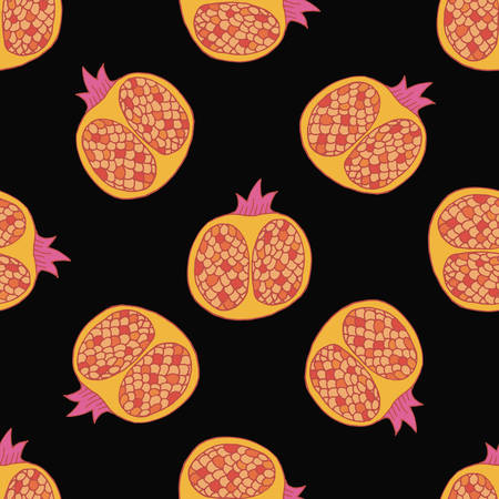 Pomegranate seamless pattern in hand drawn style. Vector illustration.