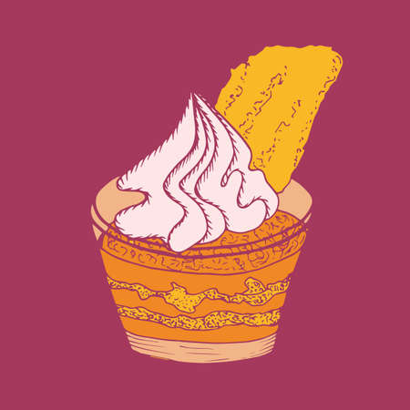 Yummy cupcake in glass in hand drawn style. Vector illustration