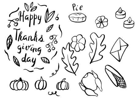 Thanksgiving day set in hand drawn style. Vector illustration
