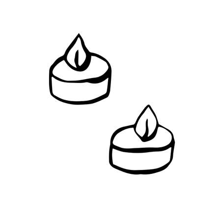Thanksgiving day candles in hand drawn style. Vector illustration