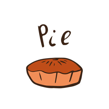 Thanksgiving day pie in hand drawn style. Vector illustration