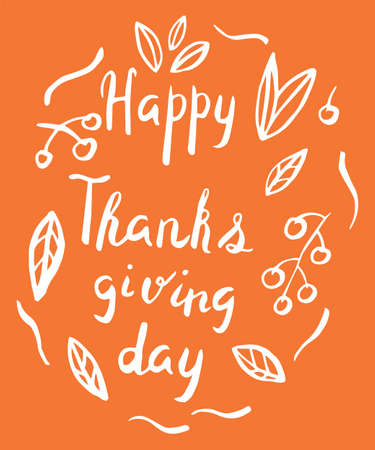 Thanksgiving day card in hand drawn style. Vector illustration