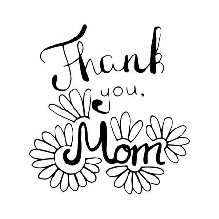 Thank you mom card in vector Illustration