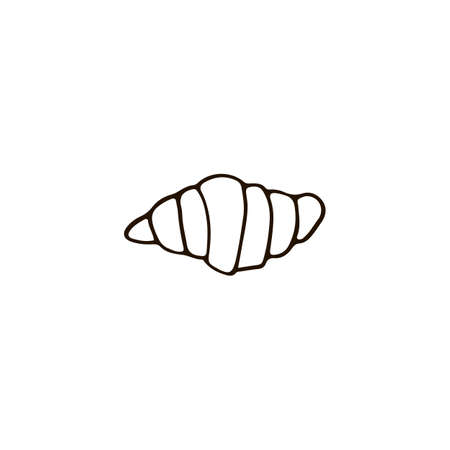 France Paris croissant icon in doodle style. For print, web and brand design