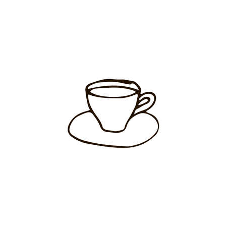 Cup of tea or coffee icon in doodle style. For print, web and brand design