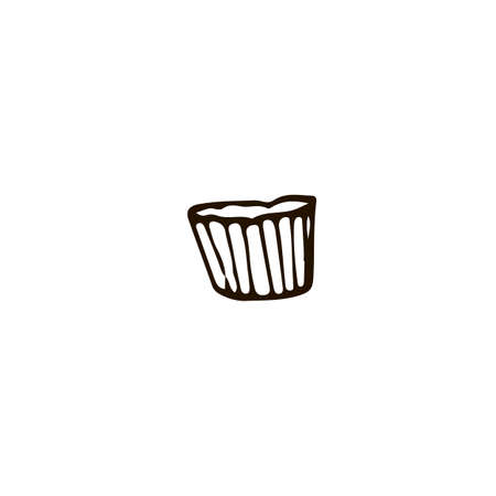 Cupcake paper cover icon in doodle style. For print, web and brand design