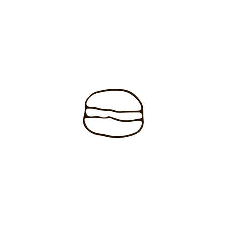 France Paris macaroon icon in doodle style. For print, web and brand design