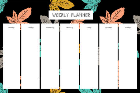 Weekly planner with fig pattern in hand drawn style. For print, office, school. Vector illustration