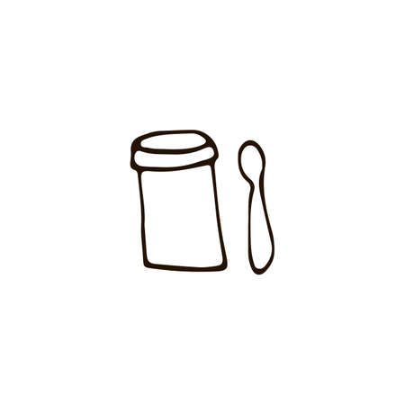 Metallic jar for tea with spoon icons in sketch style. Vector illustration
