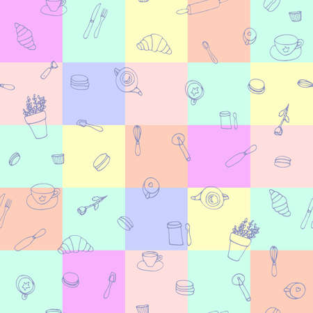 France Paris cafe seamless, pattern in doodle style. For print, web and textile design