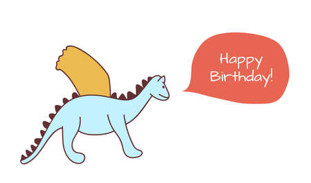 Happy birthday card with dragon in cartoon style. Vector illustration. For print, web, postcard and nursery design. Çizim