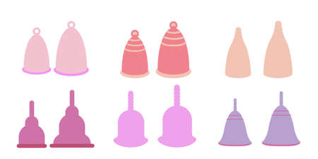 Menstrual cups icons set in flat style. For ads, shop, womans magazine. Vector illustration. Two sizes period cup Illustration