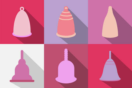 Menstrual cups icons set in flat style. For ads, shop, womans magazine. Vector illustration.