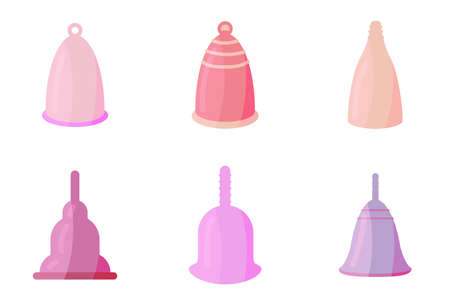 Menstrual cups icons set in cartoon style. For ads, shop, womans magazine. Vector illustration. Illustration