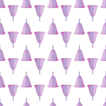 Menstrual cup seamless pattern in flat style. For ads, shop, womans magazine. Vector illustration.